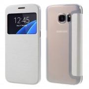 SAMSUNG GALAXY S7 tynd læder cover med vindue, hvid Mobiltelefon tilbehør