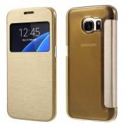 SAMSUNG GALAXY S7 tynd læder cover med vindue, guld Mobiltelefon tilbehør