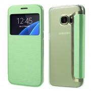 SAMSUNG GALAXY S7 tynd læder cover med vindue, grøn Mobiltelefon tilbehør