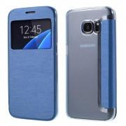 SAMSUNG GALAXY S7 tynd læder cover med vindue, blå Mobiltelefon tilbehør