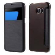 SAMSUNG GALAXY S7 EDGE tynd læder cover med vindue, sort Mobiltelefon tilbehør