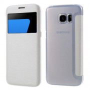 SAMSUNG GALAXY S7 EDGE tynd læder cover med vindue, hvid Mobiltelefon tilbehør