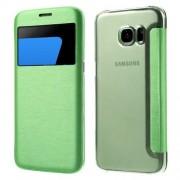 SAMSUNG GALAXY S7 EDGE tynd læder cover med vindue, cyan Mobiltelefon tilbehør