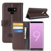 Galaxy Note 9 flip cover ægte læder brun Mobil tilbehør