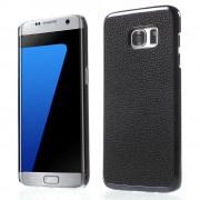 SAMSUNG GALAXY S7 EDGE bag cover i split læder, sort Mobiltelefon tilbehør
