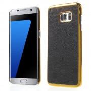 SAMSUNG GALAXY S7 EDGE bag cover i split læder, guld-sort Mobiltelefon tilbehør