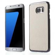 SAMSUNG GALAXY S7 EDGE bag cover i split læder, hvid Mobiltelefon tilbehør