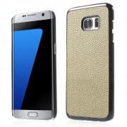Til SAMSUNG GALAXY S7 EDGE bag cover i split læder, beige Mobiltelefon tilbehør