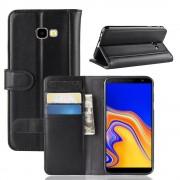 sort Flip cover ægte læder Galaxy J4 plus 2018 Mobil tilbehør