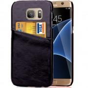 SAMSUNG GALAXY S7 EDGE læder bag cover med kort lomme, sort Mobiltelefon tilbehør