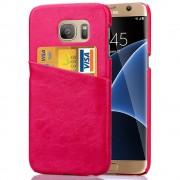 SAMSUNG GALAXY S7 EDGE læder bag cover med kort lomme, rosa Mobiltelefon tilbehør