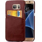 SAMSUNG GALAXY S7 EDGE læder bag cover med kort lomme, brun Mobiltelefon tilbehør