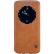SAMSUNG GALAXY S7 EDGE business læder cover med rundt vindue brun, Mobiltelefon tilbehør