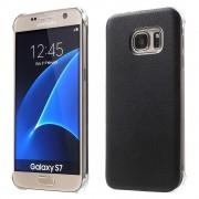 SAMSUNG GALAXY S7 læder bag cover, sort Mobiltelefon tilbehør