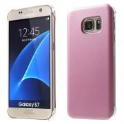 SAMSUNG GALAXY S7 læder bag cover, pink Mobiltelefon tilbehør