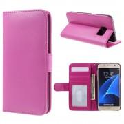 SAMSUNG GALAXY S7 læder pung cover, rosa Mobiltelefon tilbehør