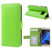 SAMSUNG GALAXY S7 læder pung cover, grøn Mobiltelefon tilbehør
