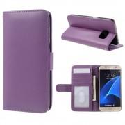 SAMSUNG GALAXY S7 læder pung cover, lilla Mobiltelefon tilbehør