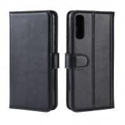 sort Flip cover ægte læder Samsung A50 Mobil tilbehør