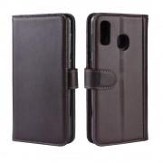 brun Flip cover ægte læder Samsung A20e Mobil tilbehør
