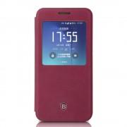 SAMSUNG GALAXY S7 EDGE Premium læder cover med vindue rød, Mobiltelefon tilbehør
