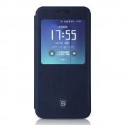 SAMSUNG GALAXY S7 EDGE Premium læder cover med vindue mørkeblå, Mobiltelefon tilbehør