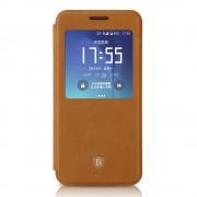 SAMSUNG GALAXY S7 EDGE Premium læder cover med vindue brun, Mobiltelefon tilbehør