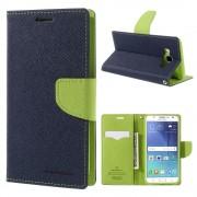 JC-style Samsung Galaxy J5 2016 flip cover med lommer blå/grøn Mobilcovers