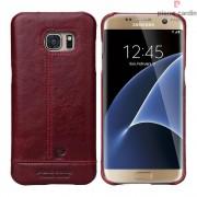 Til Samsung Galaxy S7 Edge rød cover Pierre Cardin design læder Mobiltelefon tilbehør
