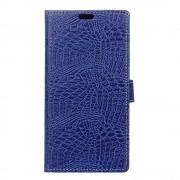 Samsung Galaxy A3 2017 blå cover etui Alligator mønstret læder Leveso.dk Mobiltelefon tilbehør