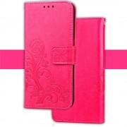 Samsung Galaxy S8 Plus pu læder cover rosa med mønster og lommer, Samsung mobil tilbehør