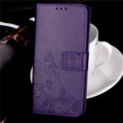 Samsung Galaxy S8 Plus læder cover med mønster lilla mobilcovers