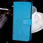 Samsung Galaxy S8 blå flip cover med mønster og kort lommer, Leveso.dk