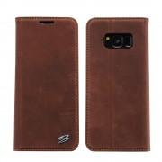 Samsung Galaxy S8 luksus flip cover brun vintage, Mobil tilbehør