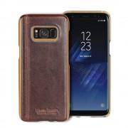 Samsung Galaxy S8 mørkebrun cover Pierre Cardin design ægte læder, Samsung S8 tilbehør