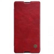 SONY XPERIA M5 læder cover i business stil, rød Mobiltelefon tilbehør