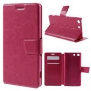 SONY XPERIA M5 læder cover med kort lommer, rosa Mobiltelefon tilbehør