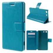 SONY XPERIA M5 læder cover med kort lommer, blå Mobiltelefon tilbehør