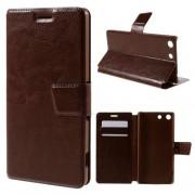 SONY XPERIA M5 læder cover med kort lommer, brun Mobiltelefon tilbehør