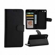 SONY XPERIA M5 læder pung cover, sort Mobiltelefon tilbehør