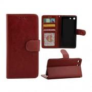 SONY XPERIA M5 læder pung cover, brun Mobiltelefon tilbehør