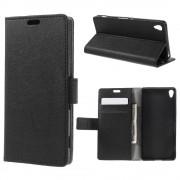 SONY XPERIA XA cover etui med kort lommer sort Leveso Mobil tilbehør