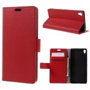 SONY XPERIA XA cover etui med kort lommer rød Leveso Mobil tilbehør