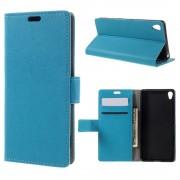 SONY XPERIA XA cover etui med kort lommer blå Leveso Mobil tilbehør