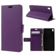 SONY XPERIA XA cover etui med kort lommer lilla Leveso Mobil tilbehør