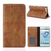 Til Sony Xperia X Compact brun cover retro-line Leveso.dk Mobiltelefon tilbehør