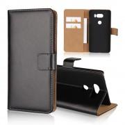 Flip cover i split læder LG V30 sort Mobilcovers