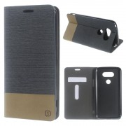 LG G5 dual line læder cover mørkegrå