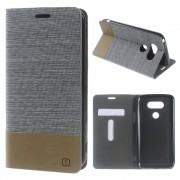 LG G5 dual line læder cover lysegrå