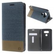 LG G5 dual line læder cover blå